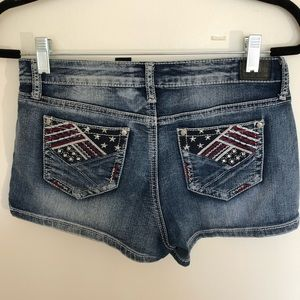 ZCO Jr. Size American flag shorts.